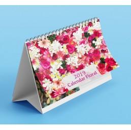 Calendar de birou A5 cu imagini cu flori